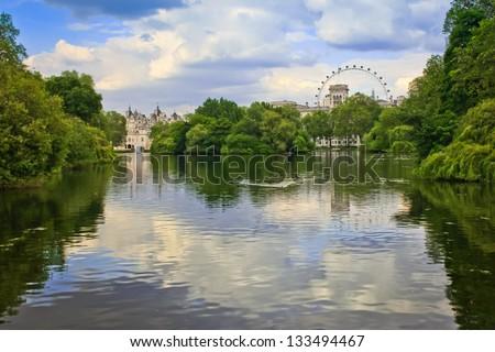 view of oak island in saint james park, london - stock photo