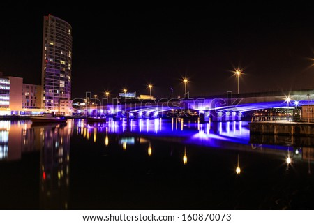 View of Obel, tallest building in northern Ireland. - stock photo