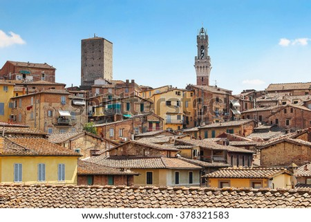 View of old buildings of Siena, Tuscany region, Italy. - stock photo