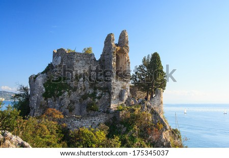 View of old castle in Duino, Italy - stock photo