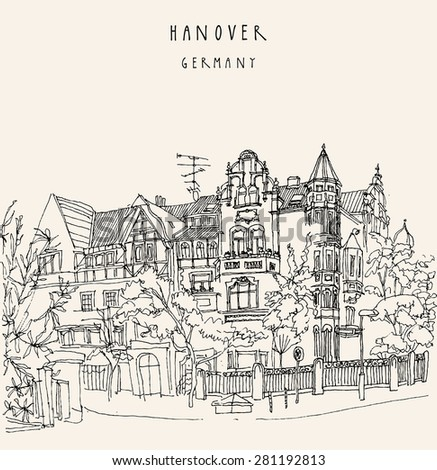 View of old center in Hanover, Germany. Historical building line art. Freehand drawing. Quality travel sketch. Vintage postcard template with Hannover hand lettering - stock photo