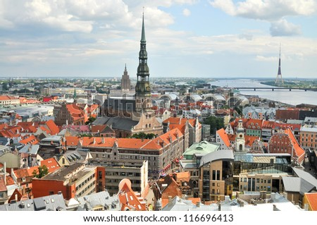 View of old city of Riga - stock photo