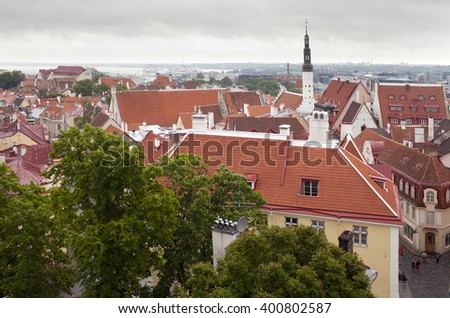 View of Old city's roofs. Tallinn. Estonia - stock photo