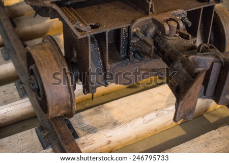 View of old coal mine cart. - stock photo