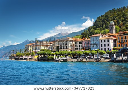 View of old Italian town at the coast of the lake, Bellagio, Como lake, Italy. - stock photo
