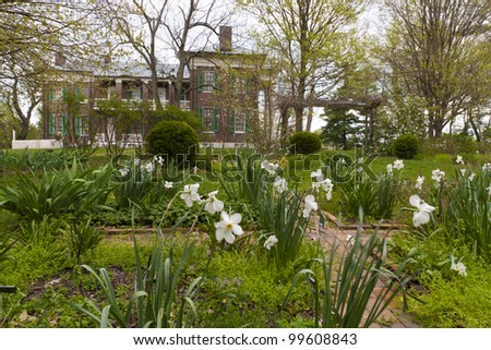 View of old park and mansion in Waveland State Historic Site . Lexington, Kentucky, USA - stock photo