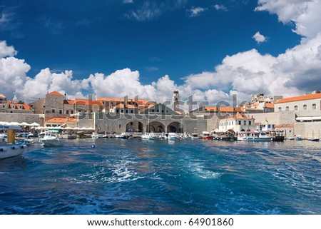 view of old port in Dubrovnik, Croatia - stock photo