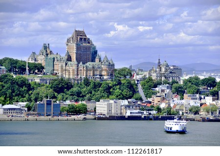View of old Quebec and the Ch�¢teau Frontenac, Quebec, Canada. It was designated a National Historic Site of Canada during 1980. the site was the residence of the British governors of Lower Canada. - stock photo
