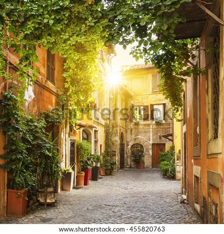 View of Old street in Trastevere in Rome, Italy - stock photo