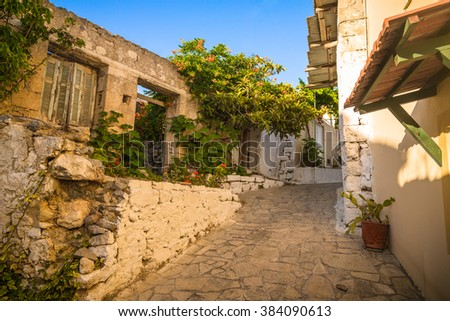 View of old town in Chania, Crete in greece - stock photo