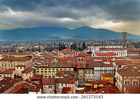 View of old town, Lucca, Italy - stock photo