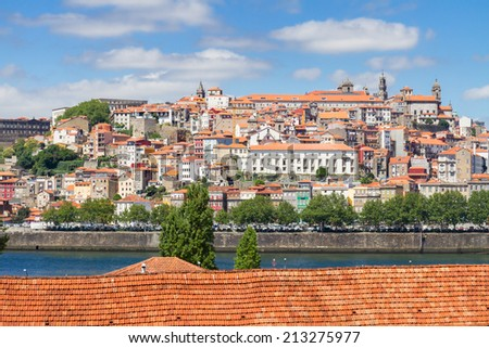 view of  old town of Porto at sunny day, Portugal - stock photo