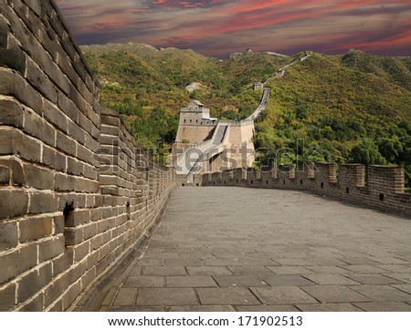 View of one of the most scenic sections of the Great Wall of China, north of Beijing - stock photo