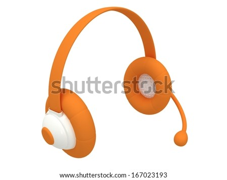 View of one orange headset - 3d render. Music, call center, phone, hands free concept. - stock photo