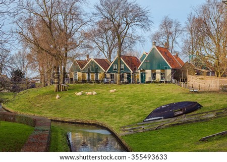 View of open-air museum in Enkhuizen, The Netherlands - stock photo