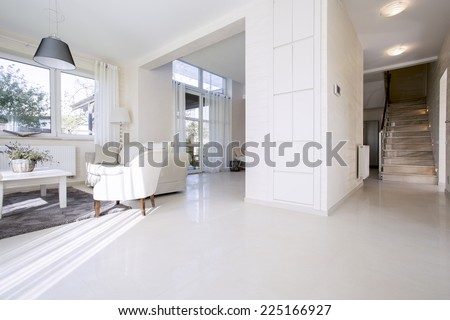 View of open space in bright home - stock photo