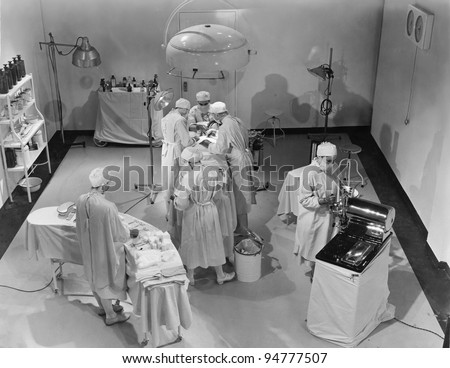 View of operating room from above - stock photo