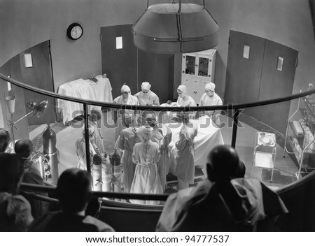 View of operating theater with spectators - stock photo