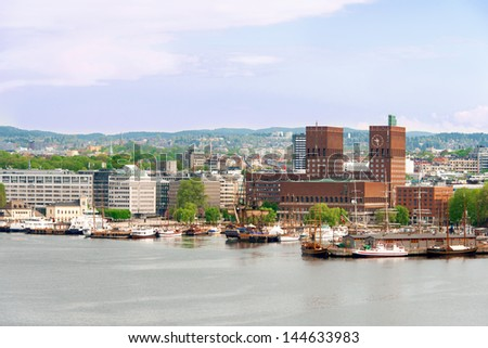 View of Oslo, Norway Radhuset (city hall) from the sea - stock photo