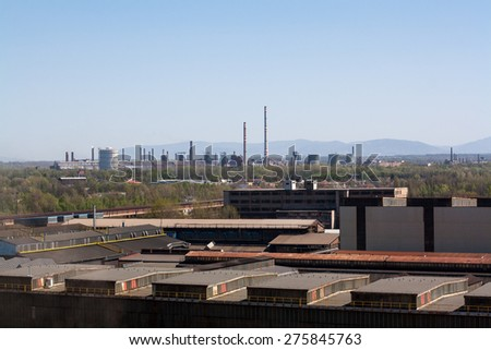 View of Ostrava city, view of factory, Czech republic - stock photo