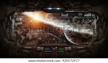 View of outer space from the window of a space station 'elements of this image furnished by NASA' '3D rendering' - stock photo