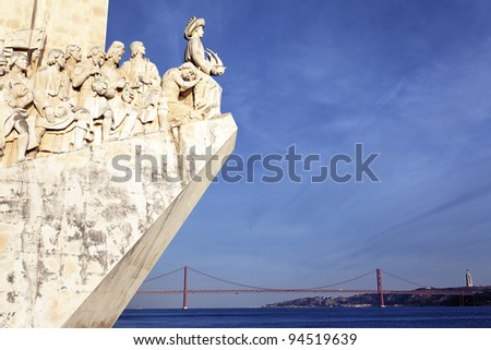 view of Padrao dos Descobrimentos, monument in Lisbon - stock photo