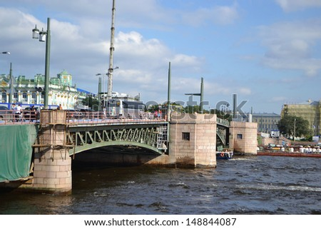 View of Palace Bridge in St.Petersburg, Russia. - stock photo