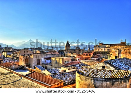View of Palermo with roofs in high dynamic range. Sicily- Italy - stock photo