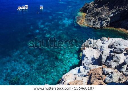 View of Pantelleria coast famous island in Sicily - stock photo
