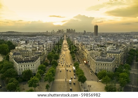 view of paris at sunset - stock photo