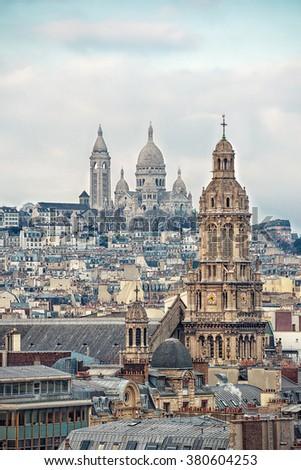 View of Paris city ( Montmartre area) - stock photo