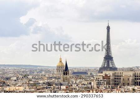 View of Paris from an observation point in Notre Dame - stock photo