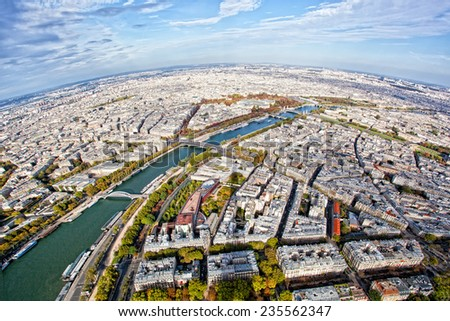 View of Paris from height of bird's flight - stock photo
