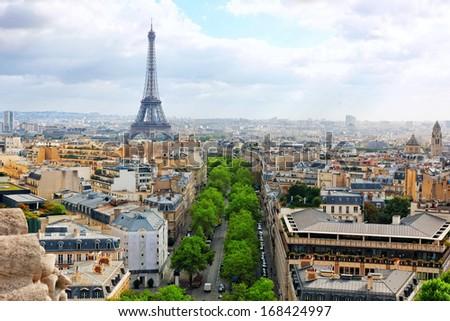View of Paris from the Arc de Triomphe. Paris.  - stock photo