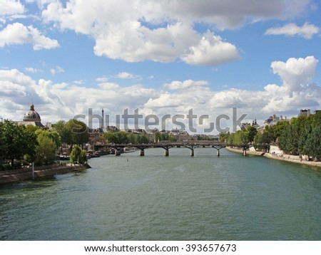 View of Paris from the Seine River. France, Europe.  - stock photo