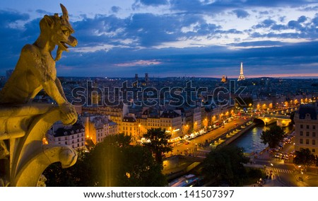 View of Paris from top of Notre Dame cathedral. - stock photo