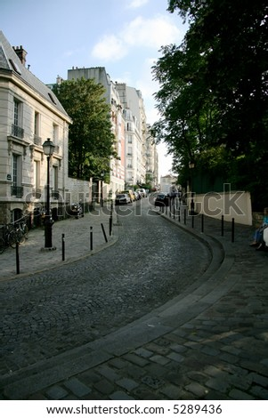 View of Paris streets - Montmartre, low view angle, pavement - stock photo