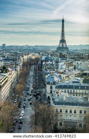 View of Paris with Eiffel tower from The Arc de Triomphe - stock photo