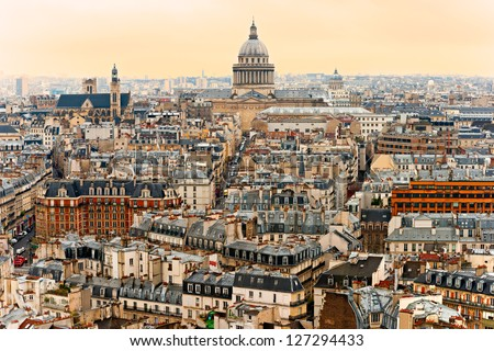 View of Paris with the Pantheon at sunset, France. - stock photo