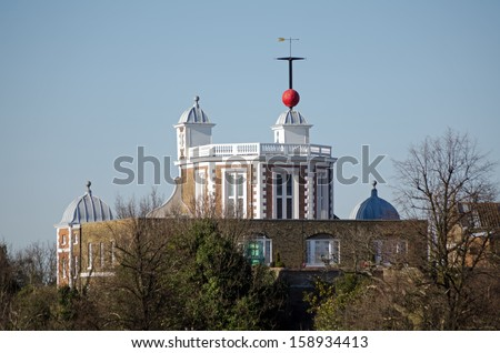 View of part of the historic Royal Observatory at Greenwich, London.  This Stuart building crosses the Greenwich Meridian.   - stock photo