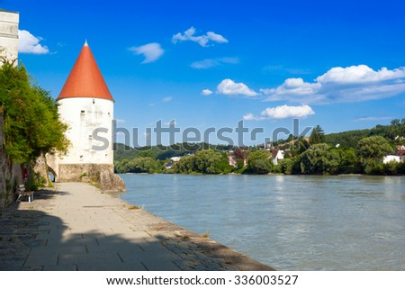 View of Passau with old tower and the river Inn, Bavaria, German - stock photo
