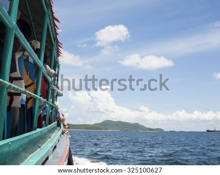 view of passenger ferry boat , Thailand - stock photo