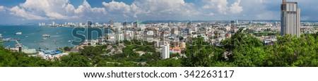 View of Pattaya in Thailand - Panorama - stock photo