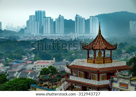 "View of Penang from The Kek Lok Si Temple ""Temple of Supreme Bliss"" a Buddhist temple situated in Air Itam in Penang - stock photo"
