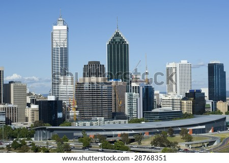 View of Perth skyline from Kings Park - stock photo