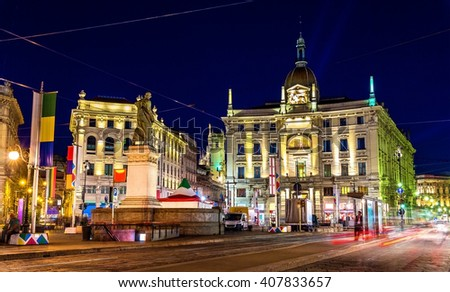 View of Piazza Cordusio square in Milan, Italy - stock photo