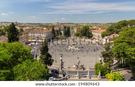 View of Piazza del Popolo in Rome, Italy - stock photo