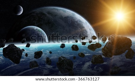 View of planets from space during meteorite impact 'elements of this image furnished by NASA' - stock photo