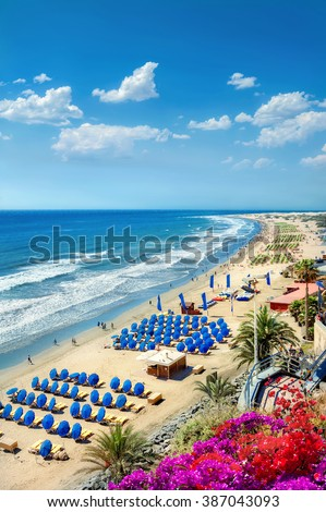 View of Playa del Ingles beach. Maspalomas. Gran Canaria - stock photo