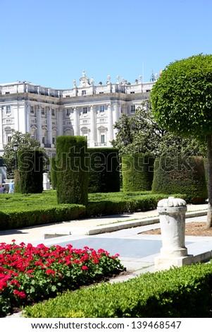 View of Plaza de Oriente y Palacio real in background, Madrid - stock photo